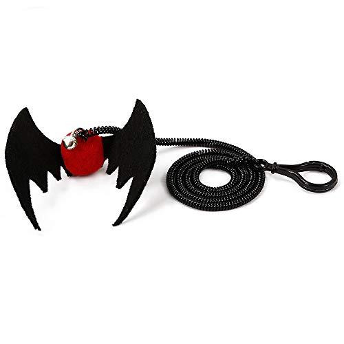 Pet Toy, Cat Halloween Toy Bat Spider Flying Finger Gifts for Cat Kitten (Red Bat)