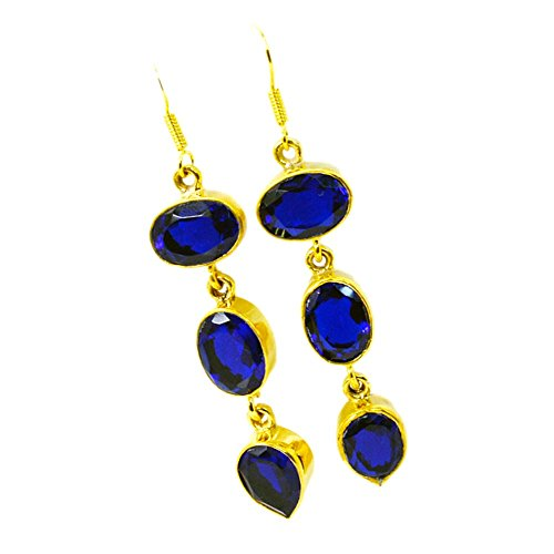 - Jewelryonclick Blue Sapphire CZ Gold Plated Earrings For Women Oval Pear Gemstone Indian Handmade Jewelry