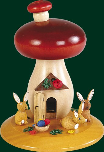German Smoked Mushroom Figure with Rabbit, 5.2 Inches