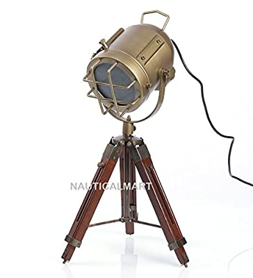 Nauticalmart Vintage Industrial Style Brown Brass Finish Teak Wood Tripod Table Lamp
