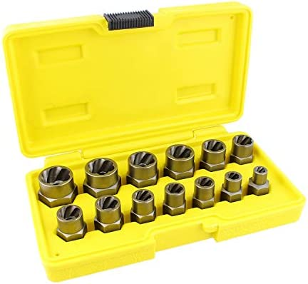 ABN Bolt and Nut Remover Sockets - 3/8 Inch Nut and Bolt Extractor Set Impact Sockets for Stripped Bolts, 13 Piece