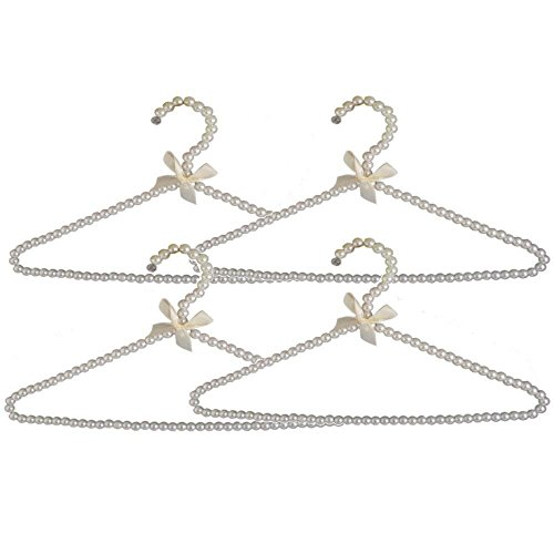 WHOSEE 4 Pack Clothes Pearl Hanger 10KG Weight Bearing Trouser Bead Skirts Hanging Holder White