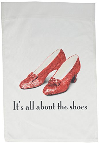 3dRose fl_108339_1 Its All About The Shoes Ruby Slippers Wizard of Oz Garden Flag, 12 by 18-Inch ()