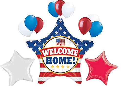 Welcome Home 28 Inch Patriotic USA Military Armed Forces Star Balloon Party Decoration Set. Red White and Blue Balloons. by PartyBox! -