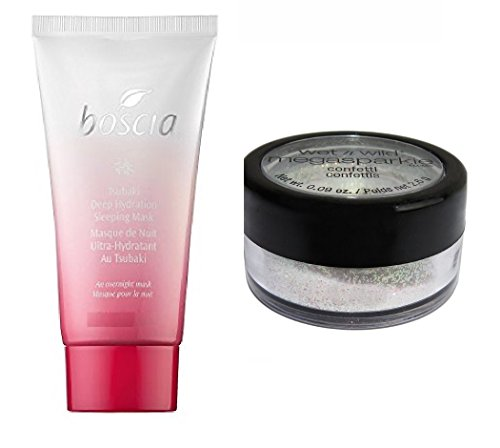 Set of boscia Tsubaki Deep Hydration Sleeping Mask 1 oz and wet'n wild shimmer dust complement