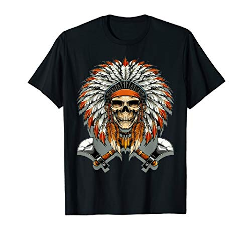 - NATIVE AMERICAN SKULL TRIBAL AWESOME GRAPHIC T SHIRT