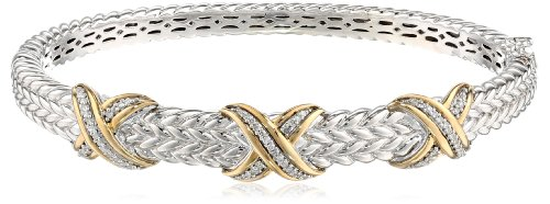 Sterling Silver and 14k Yellow Gold Triple X Design Diamond Textured Bangle Bracelet (.18 cttw) by Amazon Collection