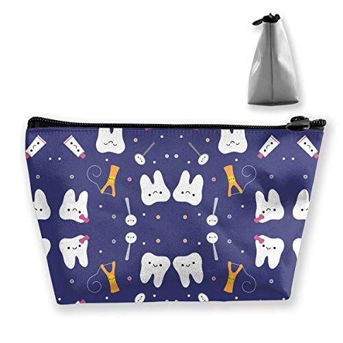 pengyong Cartoon Tooth Tool Makeup Bag Large Trapezoidal Storage Travel Bag Wash Cosmetic Pouch Pencil Holder Zipper Waterproof
