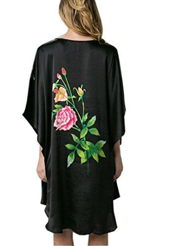 Prettystern - 100% del camisón de satén de seda crepé con kimono pintado a mano la pintura del cepillo del chino YBS101 Negro