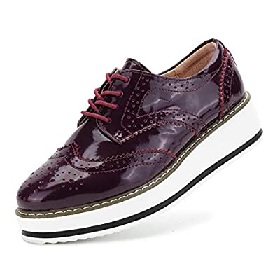 Oxford Shoes for Women Platform Dress Shoes Lace Up Wingtip Brogue Sneakers