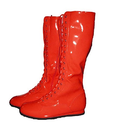 Wwf Wrestling Costumes (Pro Wrestling Costume Boots (Large, Red))