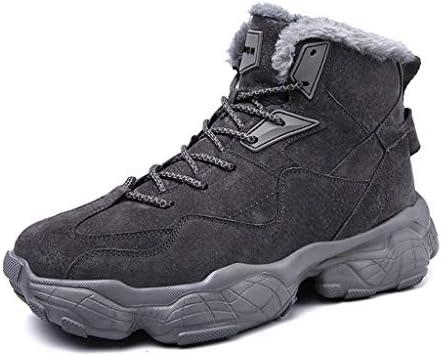 LGQ-靴屋 男性の冬の雪のブーツ、ハイキングクライミング滑り止めの靴裏地ぬいぐるみ暖かい柔らかい快適なウォーキングレースアップアンクルブーツ(グレー) (Size : 40)