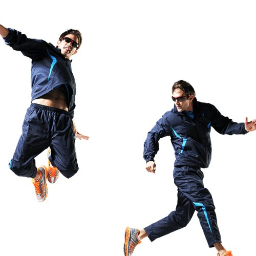 Fuerza Mens Track Jacket Pants Built In Hood Woven Tracksuit (Navy/Blue)