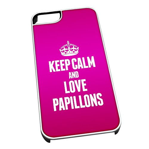 Bianco cover per iPhone 5/5S 2046Pink Keep Calm and Love Papillons