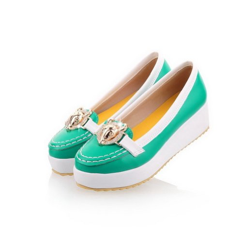 Pumps Green M whith Heel Women's PU and Round US Closed Glass Metalornament WeenFashion Diamond Toe Low 5 B RqWBpCqUw