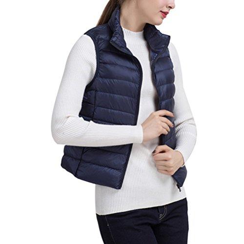 ホーンダイヤモンド気怠いZhhlinyuan 柔らかい Autumn Winter Ultralight Sleeveless Vest Down Jacket Stand Collar Short Style Warming 優れた for Women
