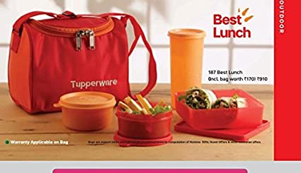 Buy Tupperware Plastic Lunch Bag Set With Bag 4 Pieces Multicolour