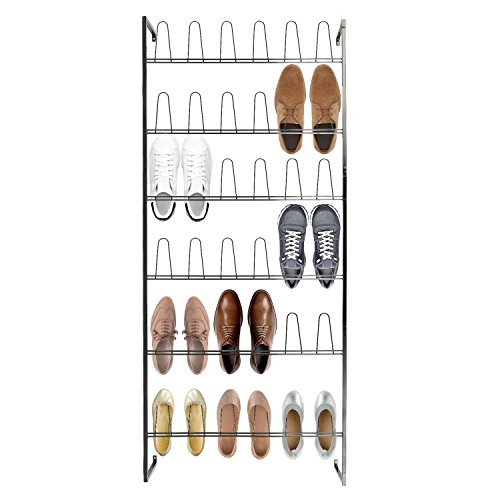 MyGift Wall Mounted Black Metal 36 Hook Shoe Rack/18 Pair Entryway Shoe Storage Organizer Stand
