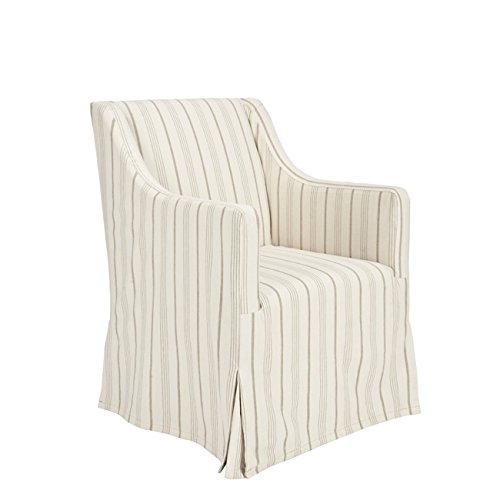 Safavieh Mercer Collection Carson Slipcover Side Chair, Beige (Striped Chair Modern)