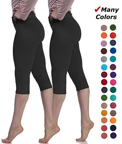 Lush Moda Extra Soft Leggings - Variety of Colors - One Size Yoga Waist - Two Pack (Black-Black)]()