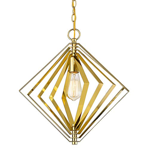 - Jazava Industrial Pendant Lighting, Modern Farmhouse Hanging Light Fixture, Style DIY Available Metal Cage Frame, Antique Brass Brushed Finish
