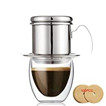 ECHI Coffee Maker Pot, Stainless Steel Vietnamese Coffee Drip Filter Maker Single Cup Coffee Drip Brewer - Portable,Paperless for Home Kitchen Office Outdoor Use