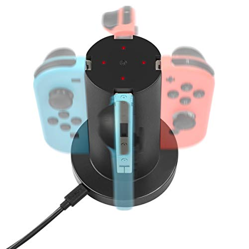 Powtree Joy Con Charger for Nintendo Switch 4 in 1 Joy-Con Charging Dock Station with USB Cable for Nintendo Switch Joy Con Controller Console Accessories from Powtree
