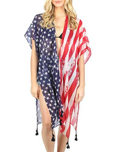 (Women's Summer American Flag Beach Cover up Poncho Tunic Top Scarf Wrap. (American)