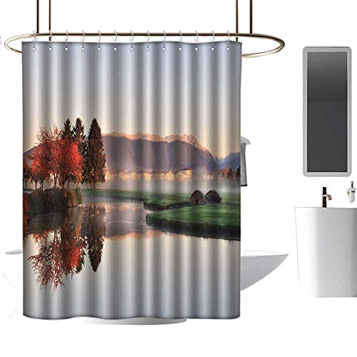 TimBeve Fabric Shower Curtain for Bathroom Fall,Vibrant Maple