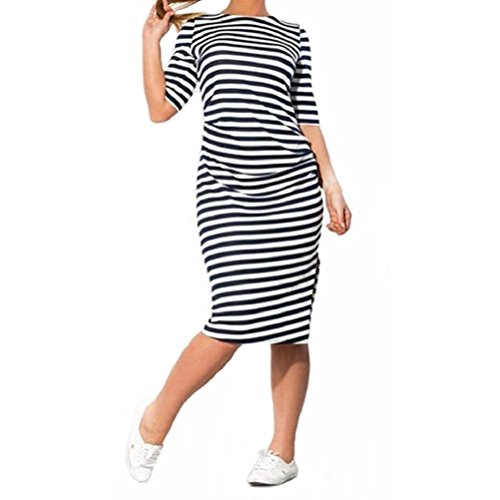 Casual Dress,Neartime Striped Plus Size Knee-length Loose for Women