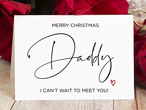 Christmas Card For Daddy, Pregnancy Christmas Card for Dad to Be from the Bump, Card with Envelope (Card Daddy Christmas)
