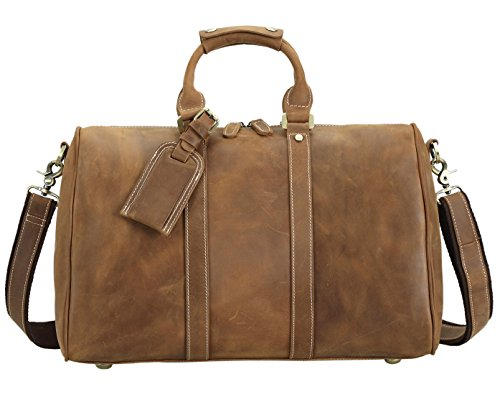 Polare Full Grain Leather Classic Duffel Bag Travel Gym Weekend Bag 17.3'' by Polare (Image #1)