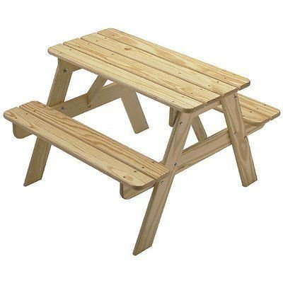 Best Kids Wooden Play Picnic Table- Solid Wood Sanded Unfinished- Choose Your Favorite Finish Color- Family Project- 200 Pound Capacity Seating For 4-6 Young Ones- Sturdy Easy Assembly Indoor/Outdoor (Lodgepole Pine Furniture)