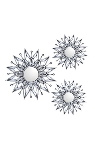 All American Collection New Separated 3 Piece Decorative Mirror Set, Wall Accent Display (Silver Star) ()