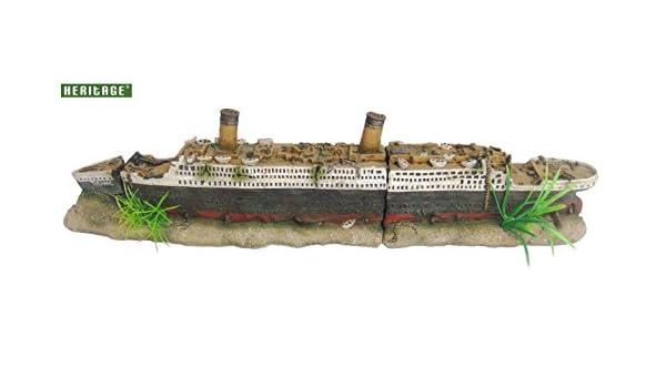 Heritage Acuario Tanque de peces Barco Titanic Wreck Figura pintada a mano: Amazon.es: Productos para mascotas