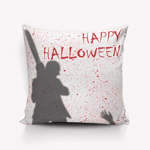 Pillow Case Cotton Linen Burlap Square Throw Pillow Cover for Sofa Bench Couch Car Seat Bed Pillow Protectors Pillowcase - Happy Halloween Chainsaw Pattern 26