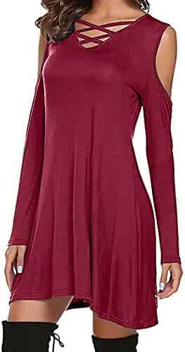 Londony ♥‿♥ Clearance Sales 2018, Women's Winter Cold Shoulder Crisscross Tunic Top Swing T-Shirt Loose Dress