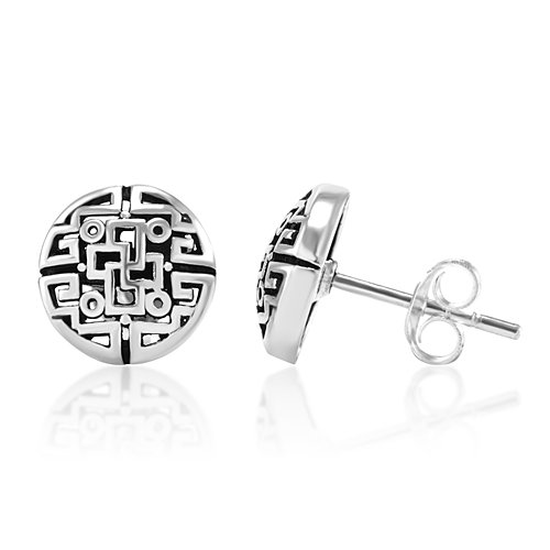 Silver Filigree Post (925 Oxidized Sterling Silver Chinese Inspired Filigree 10 mm Post Stud Earrings)
