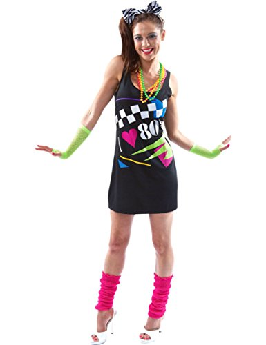 I Love the 80s Dress Rewind Festival 1980s Fancy Dress Eighties Ladies Outfit (80 S Outfit)