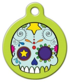 Dog Tag Art Custom Pet ID Tag for Dogs – Dia de los Muertos – Large – 1.25 inch, My Pet Supplies