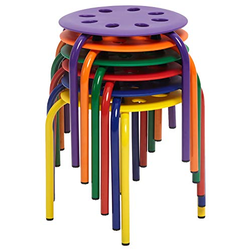 Berry Seat - ECR4Kids Berry Patch Plastic Stack Stools 6-Pack, Portable Round Nesting Seats for Schools, Offices and Homes, 12