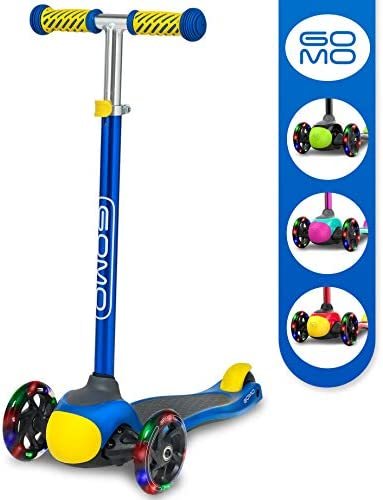 GOMO 3 Wheel Scooter – Toddler Scooter – Three Wheel Scooter for Kids 2, 3, 4 and 5 Years Old Adjustable Height Kick Scooter w Colors for Boys Girls