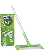 Swiffer Starter Kit Scopa con 1 Manico, 8 Panni Asciutti e 3 Panni Umidi, per Catturare e Intrappolare la Polvere