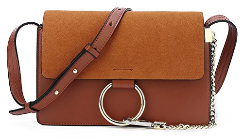 QZUnique Women's Cowhide Genuine Split Leather Fashion Vintage Style Cross Body Shoulder Bag Brown by QZUnique
