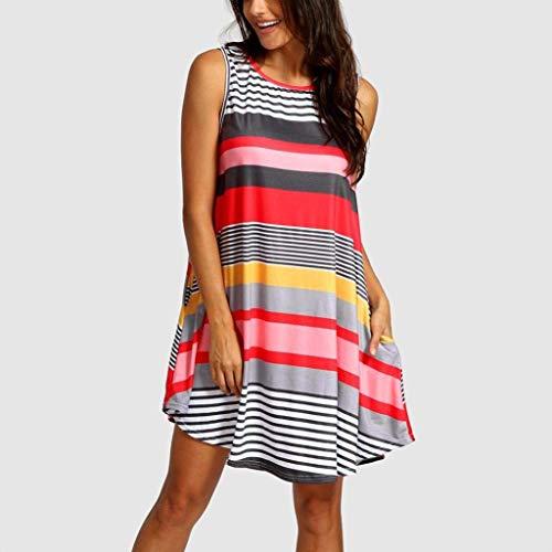 Senza Casual Red Mini O Elegante Allentati Moda Estivo A Line Da Striped Abiti Abito Vestito Collo In Donna Spiaggia Pizzo Maniche Abbigliamento xBoQEdWCer