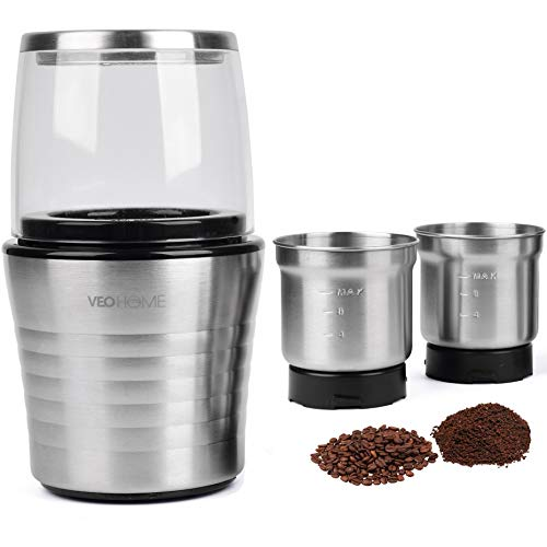 Multipurpose Electric Coffee Bean Grinder with 2 Removable Cups – Premium Stainless Steel Mill Grinding Tool for Seeds, Spice, Herbs, Nuts & Other Dry and Wet Ingredients | 200W Fast Grind in Seconds (Renewed)