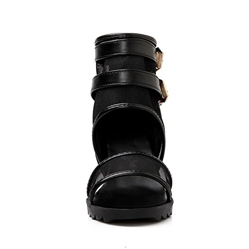 Black Solid Toe Sandals VogueZone009 Zipper PU High Open Heels Women's zwqX1H