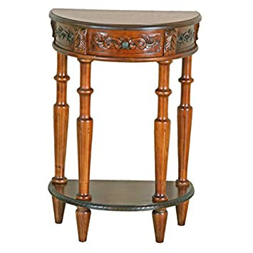 Carved Wood Small Half Moon Wall Table