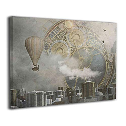 Rolandrace Steampunk City Clock Clock City Fantasy Sci-Fi -Canvas Prints Wall Art Decor Mordern Wall Artworks Pictures for Living Room Bedroom Decoration-12x16 Inch]()