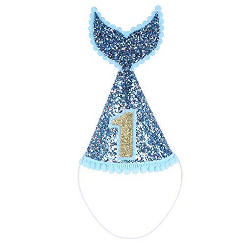 dPois Infant Baby Boys Girls' 1st Birthday Party Sparkly Mermaid Tail Cone Hats Princess Cake Smash Pictures Decoration Blue&Gold One - Cone Boy Birthday 1st Hat